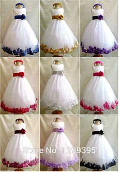 2015 Flower Girl Dresses Cute Ball Gowns First Communication Dresses with Waist and More Below Flowers Collars Embellished