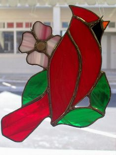 Cardinal Stained Glass Sun Catcher by stainedglasswv, $45.00 USD