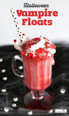 Halloween Party Treats Appetizers and Desserts Recipes - Vampire Ice Cream Floats Recipe via Living Locurto