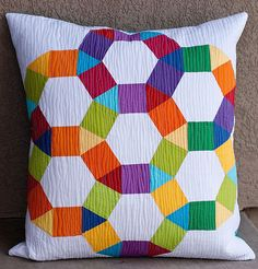 English Paper Pieced Spring Carnival Solids Pillow by Pitterputterstitch