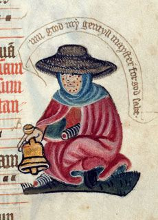 medieval disabilities | leper begging for alms from the margins of an English Pontifical c ...