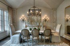 Elegant dining room-love the chandelier.