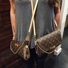 Louis Vuitton Eva on the left vs. LV Favourite on the right. Which one? Why not both? Lol