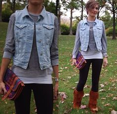 be cute with some different boots without the frill, same height. and a jean jacket instead of the vest!