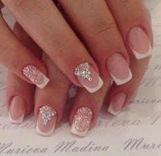 White baroque pattern damask with white Swarovski crystal nail art