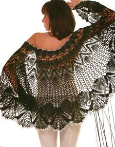 Crochet Shawls: Crochet Lace Shawl Cape - Gorgeous Crochet Pineapple Lace