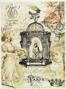 Rice-Paper-for-Decoupage-Scrapbook-Sheet-Craft-Paper-Vintage-Bird-Cage