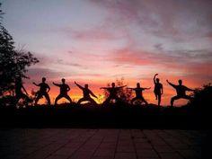 Practice at sunrise...