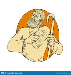 Drawing sketch style illustration of Moses, a prophet in the Abrahamic religions. leader of Israelites and lawgiver, with Ten Commandments set inside oval on isolated white background in color. Drawing Sketches, Drawings, Ten Commandments, Religion, Royalty Free Stock Photos, Doodles, Illustration, Artist, Etchings