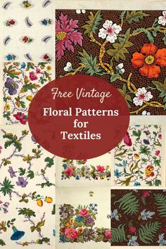 Vintage floral pattern designs for printed textiles. Lots of pretty designs on white and dark backgrounds all free to download and print. #floralprints #flowerpatterns Retro Pattern, Pattern Designs, Patterns, Textile Prints, Floral Prints, Textiles, Art Prints, Vintage Flowers, Vintage Floral