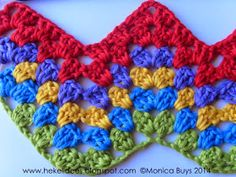 Hekel Idees: Hekel Tutoriaal: Granny Ripple Patroon Crochet Squares, Afrikaans, Crochet Projects, Free Crochet, Free Pattern, Crochet Necklace, Crochet Patterns, Stripes, Knitting