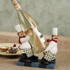 fat chef bistro wine bottle holderi could use it for my olive oil - Kitchen Chef Decorations
