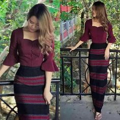 Traditional Dresses Designs, Traditional Fashion, Traditional Outfits, Filipiniana Dress, Myanmar Dress Design, Myanmar Traditional Dress, Sunday Dress, Africa Dress, Dress Neck Designs