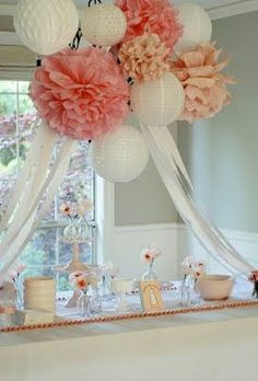 cover chandelier with pompoms, paper lanterns, and streamers for baby shower or wedding shower Festa Party, Bridal Shower Decorations, Hanging Decorations, Hanging Centerpiece, Paper Lantern Decorations, Decorating With Paper Lanterns, Cheap Party Decorations, Coral Decorations, Communion Decorations