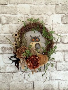 Jewel Owl Burlap Wreath, Owl Wreath, Front Door Wreath, Silk Floral Wreath, Indoor Outdoor Wreath, Grapevine Wreath, Housewarming Wreath, Neutral Wreath, Everday Wreath, Door Decor, Year Round Wreath, by Adorabella Wreaths on Etsy!