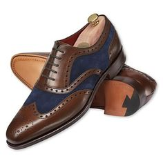 Suede and leather brogues - Charles Tyrwhitt