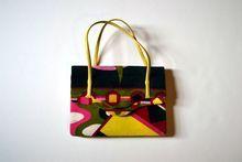 Vintage Emilio Pucci 1960's Signature Mod Print Velvet Handbag $450