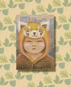 Kigu ACEO. Small drawing of someone in a Red Panda kigu, by Kes Samuelson.  £5.00 from TheKestrelAndTheSea. Proceeds to Shoreham Foodbank charity