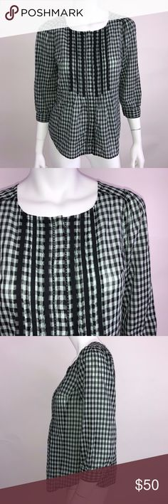 Meadow Rue 2 Cotton Pintuck Gingham Ruffle Blouse Measurements according to brand  Bust 34 Waist 26 Hips 36 #0494 Anthropologie Tops Blouses