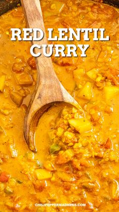 This vegetarian red lentil curry recipe (masoor dal) is made with nutty red lentils, hearty potatoes and lots of curry seasoning. Huge on flavor. Spice it up! Vegan Dinner Recipes, Vegan Dinners, Vegan Recipes Easy, Indian Food Recipes, Veggie Recipes, Soup Recipes, Lunch Recipes, Cooking Recipes, Red Curry Recipes