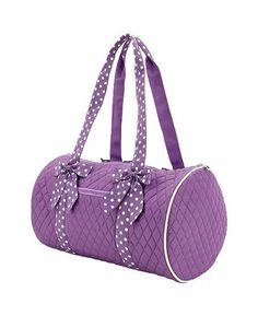 Personalized Belvah MEDIUM, Lavender and White quilted duffle bag, overnight bag, dance bag, gym bag or diaper bag. $28.00, via Etsy.