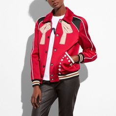 Coach Embroidered Varsity Souvenir Jacket (12.692.950 IDR) ❤ liked on Polyvore featuring outerwear, jackets, red, floral-print bomber jackets, oversized leather jackets, coach jacket, oversized jacket and sequin jacket