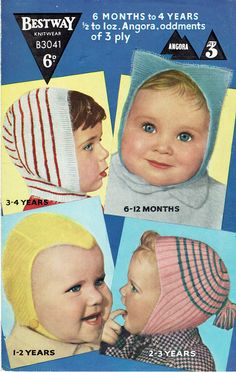 Vintage Knitting Patterns Childrens Hats / Caps / Helmets to fit Baby or Toddler - original pattern - girls boys accessories Baby Hat Knitting Pattern, Easy Knitting, Crochet Patterns, 4 Ply Yarn, Baby Bonnets, Boys Accessories, Kids Hats, Vintage Knitting, Knitting Designs