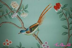 Hand painted silk wallpaper from Silk Castle.  A cheaper alternative to deGournay that appears legit.