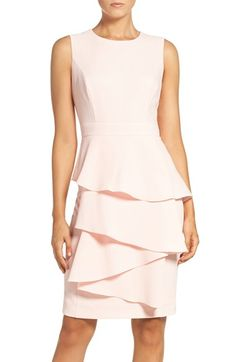 Free shipping and returns on Eliza J Ella Cascade Crepe Sheath Dress (Regular & Petite) at Nordstrom.com. This flattering sheath boast the best of two worlds: the ruffle detail adds exceptional flutter to the front without compromising the smooth, sleek pencil silhouette.
