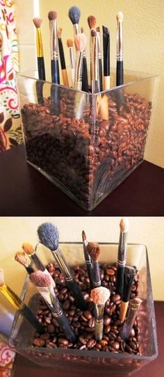 leftover valentine's day vase + $4 bag of coffee beans= new makeup brush holder!