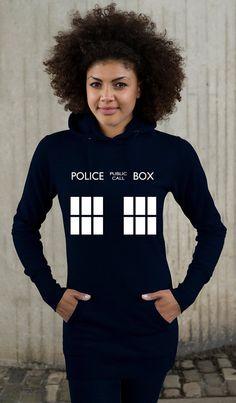 TARDIS Police Box Ladies Longline Hoodie - XS-XL, Whovian Geek Fan Doctor Who Inspired Design