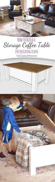 Can you believe you can build this coffee table! This girl shows you how to build a storage coffee table. Free building plans.
