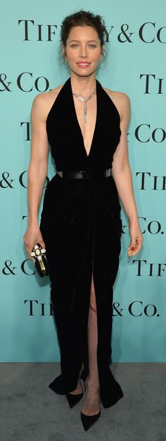 Jessica Biel in an Oscar de la Renta gown and Tiffany's jewels at Tiffany & Co. Celebrates the 2014 Blue Book.