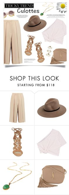"""""""Tricky Trend: Chic Culottes"""" by anchilly23 ❤ liked on Polyvore featuring Iris & Ink, rag & bone, BCBGeneration, Rosie Assoulin, Yves Saint Laurent and Topshop"""