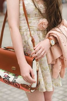 #bag #brown #dress #girly #pink #floral #feminine #romantic #fashion #inspiration #style