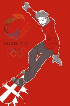 Second in a series showing the Hetalia Nordics as athletes in the 2014 Sochi Winter Olympics: Arne (head-canon name for Denmark) as a snowboarder - Art by inverted-typo.tumblr.com