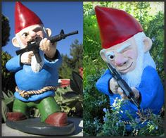 "Combat Garden Gnomes ~ which say, in no uncertain terms, ""keep the f*ck off of my lawn."" Love it!"