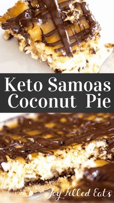 This Keto Samoas Coconut Pie Recipe is somewhere between a coconut custard pie and a Samoa cookie. With layers of chocolate, caramel, and a cookie crust it will be your new favorite dessert. I have a thing for Girl Scout cookies. Their flavor combinations Sugar Free Treats, Sugar Free Desserts, Gluten Free Desserts, Keto Cookies, Cookies Et Biscuits, Chip Cookies, Low Carb Sweets, Low Carb Desserts, Easy Desserts
