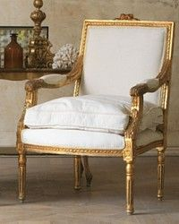 Vintage Shabby Gilt Pair Louis XVI French Style Armchairs Square