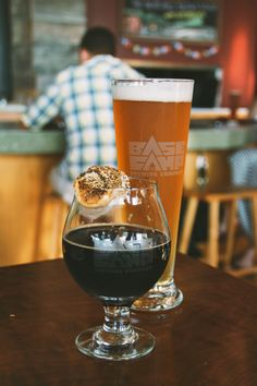Portland travel must: S'mores Stout at BaseCamp brewery, complete with toasted marshmallow. Photo Credit: My Endless Adventure Photography / BS in BMORE travel blog