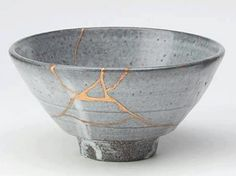 "The Japanese art of kintsukuroi, meaning ""to repair with gold or silver"", is associated with the repair of broken pottery with gold or silver lacquer. The resulting item looks more beautiful than the original, is more beautiful for having been broken; a poetic metaphor for life."