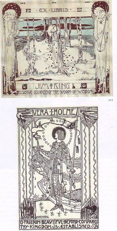 2 Bookplates by Jessie M King for Jim King, ??; Vera L Holme, ??