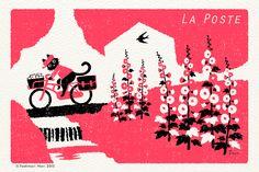 日本のイラストレーター森 俊憲が描く「猫の郵便配達」のイラストです。 La Posteはフランス語で郵便局のことです。 It is the…