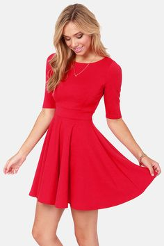 b62bc8c0bc Adorable Red Skater Dress via lulus.com Vintage Style Dresses