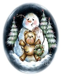 Snowman with his friend, Teddy. Snowman Images, Snowmen Pictures, Christmas Pictures, Christmas Drawing, Christmas Paintings, Christmas Snowman, Christmas Crafts, Winter Christmas, Xmas