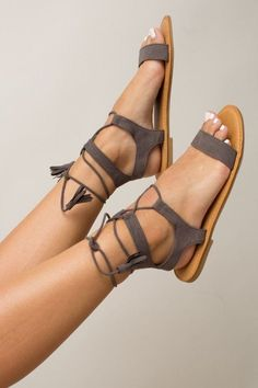 Embrace timeless style this summer with the Ancient Athens Sandals in Grey! These beautiful matte grey sandals feature an open design, a faux suede finish, and a lace up front with tie closure, adding Cute Sandals, Cute Shoes, Me Too Shoes, Shoes Sandals, Grey Sandals, Flat Sandals, Flats, Women Sandals, Strappy Sandals
