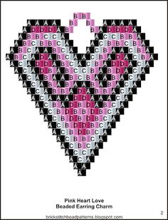 Pink Heart Love Design Seed Bead Earring Charm pg 2