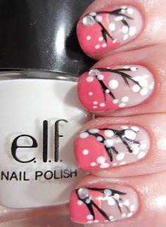 """""""Snowflakes"""" Christmas Nails (Personally, these remind me more of blossoming trees.)"""