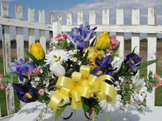 Cemetery Silk Flower Arrangements Tombstone Saddles via Etsy