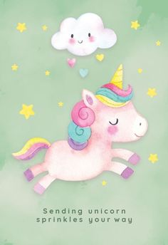 Unicorn Cheer - Get well soon card you can print or send as eCard. Personalize with your own message, photos and stickers. Choose from hundreds of cards & put a big smile on their face! Birthday Greetings, Birthday Wishes, Girl Birthday, Unicorn Art, Cute Unicorn, Happy Unicorn, Unicorn Birthday Cards, Unicorn Illustration, Unicorn Pictures